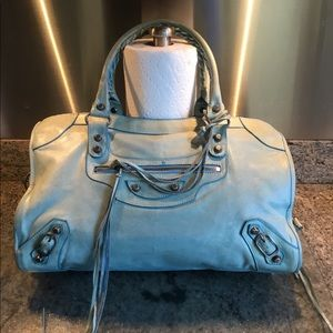 Balenciaga baby blue city bag.